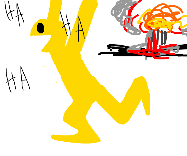 Teenpacman runs from explosion while laughing