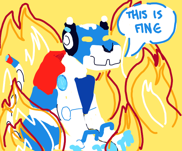 Blue mech is okay with being in fire