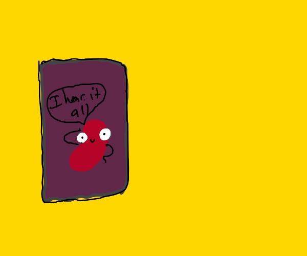 a bean boy listening form inside bean can