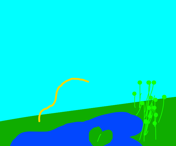 Spaghetti jumping over a pond