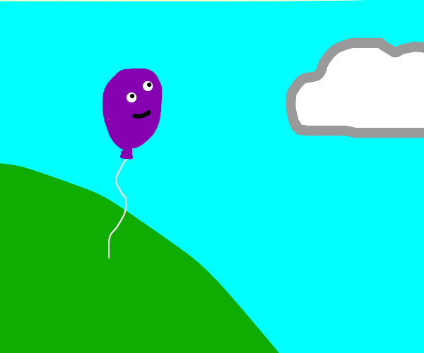 Purple balloon on a hill looking at the sky
