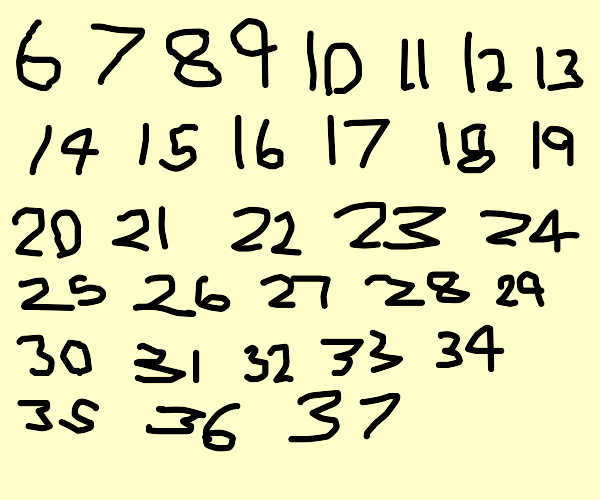 The numbers 6-37 each neatly drawn out
