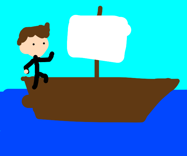 Man alone on a little sailboat