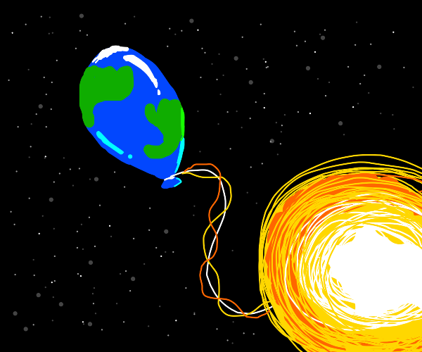 The sun is the string for balloon earth