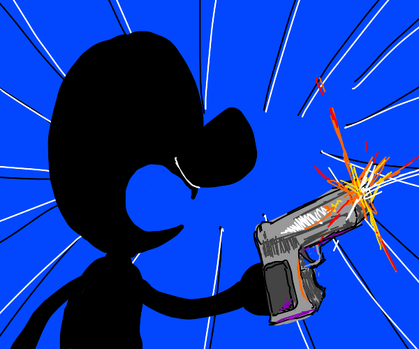 mr. game and watch shooting someone