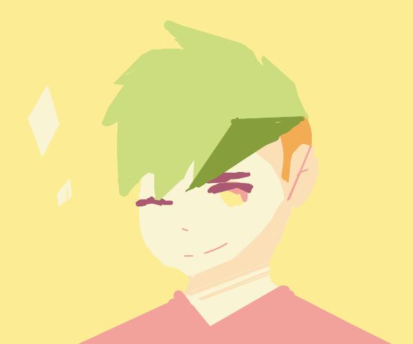 seductive man with green hair