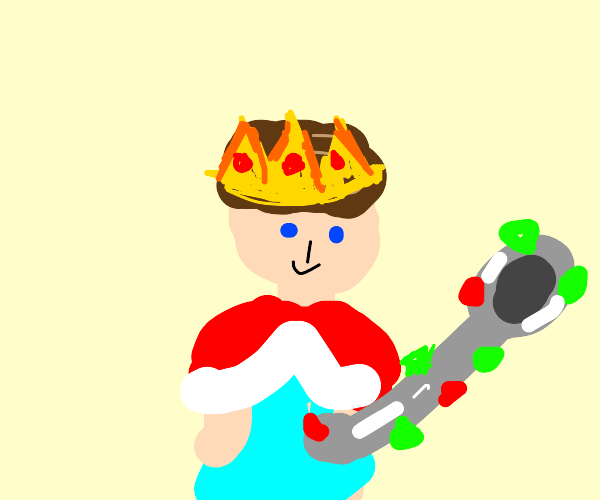 King with a giant, bedazzled spoon