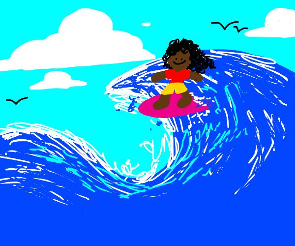 Black girl surfing