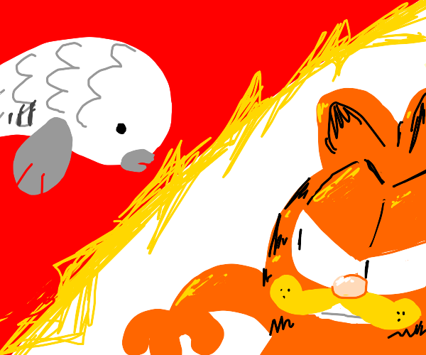 epic battle between garfield and white fish