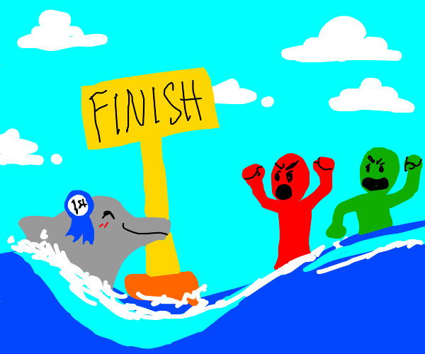 dolphin won swim race, green&red men upset