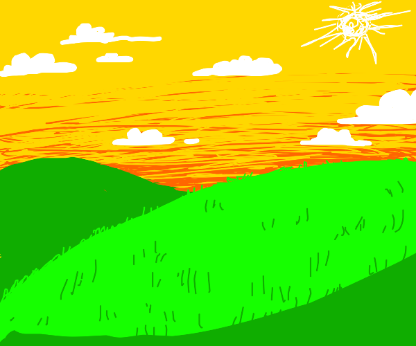A greenfield and a yellow sky