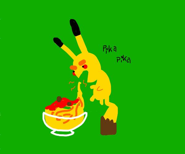 Pikachu eating meatball from spaghetti