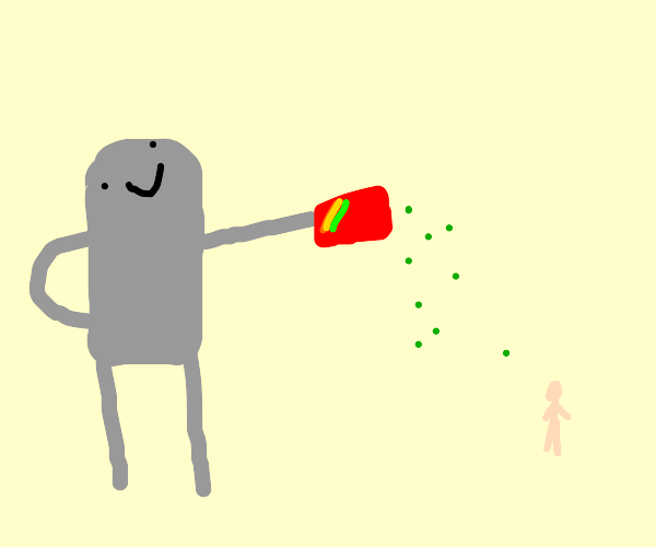 A robot gives a person some green Skittles