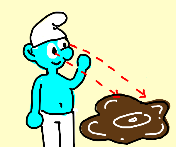 Smurf looking at brown puddle