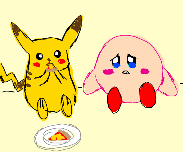 Pikachu Eats Kirby's Pizza
