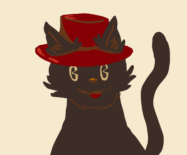 purple cat with hat