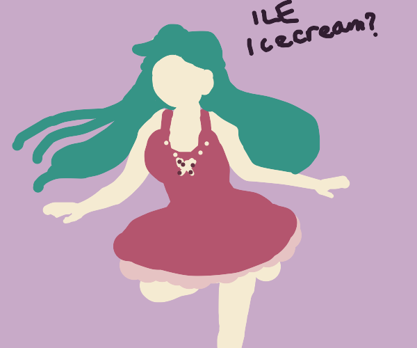 Strawberry-chan offers icecream labeled 'ILE'