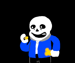 Sans is about to eat a small piece of toast