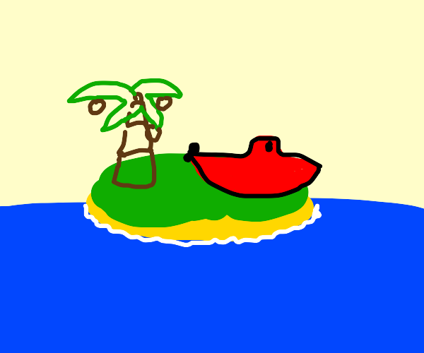 Boat on an island