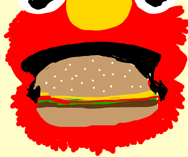 Elmo is delighted by a burger