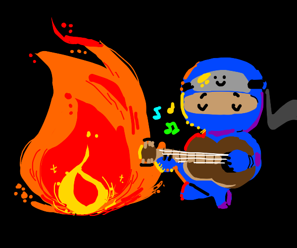 blue ninja plays guitar by fire