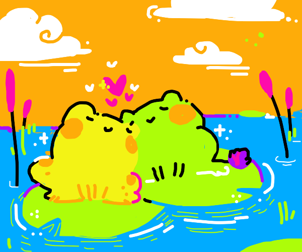 cute frogs find love on lillypads