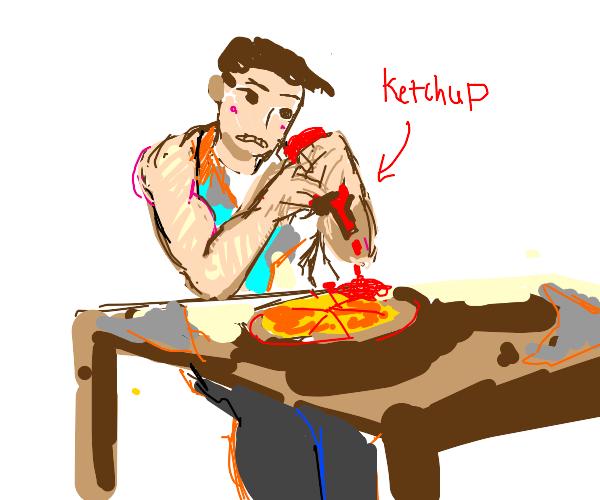 Buff man puts ketchup on his pizza