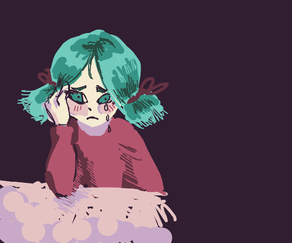 Depressed girl with pink hair and dress