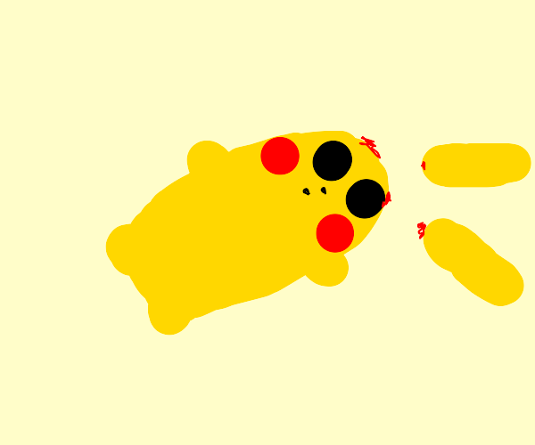 pikachu falls and hiS ear comes off