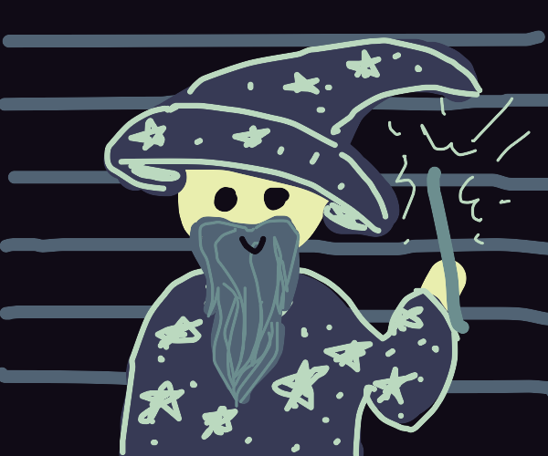 wizard with lines behind him