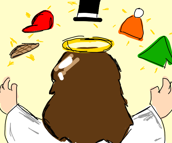 Jesus's hat collection
