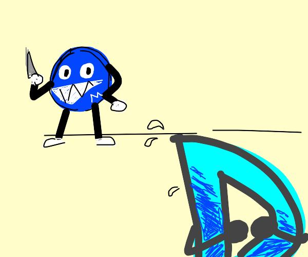 Drawception D scared by a dark blue M&M