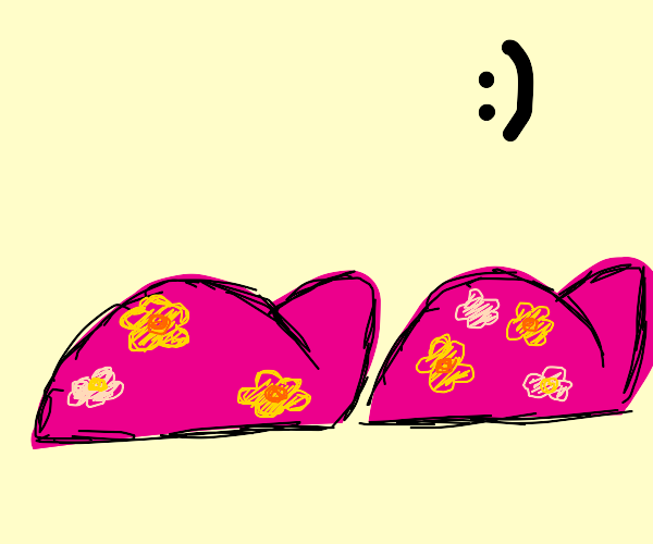 Pink slippers with cute flowers on them :)