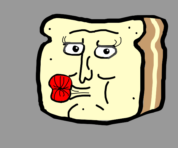 Bread with face wearing lots of lipstick
