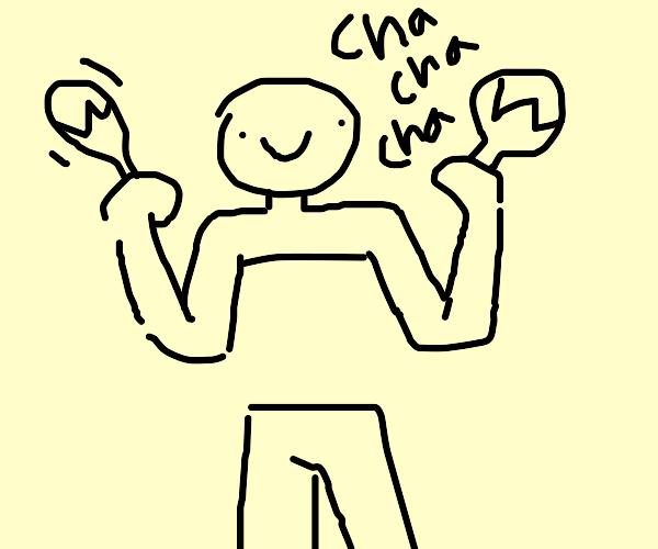 man without a torso (has limbs) plays maracas