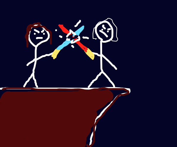 Rey and Ren battling on the cliff.