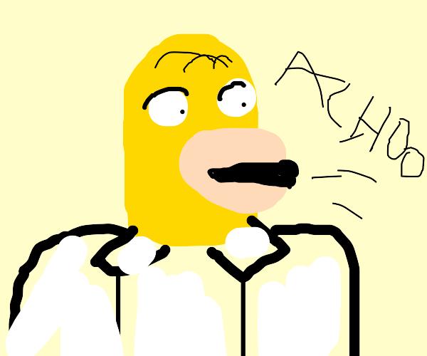 Homer sneezing over his shoulder