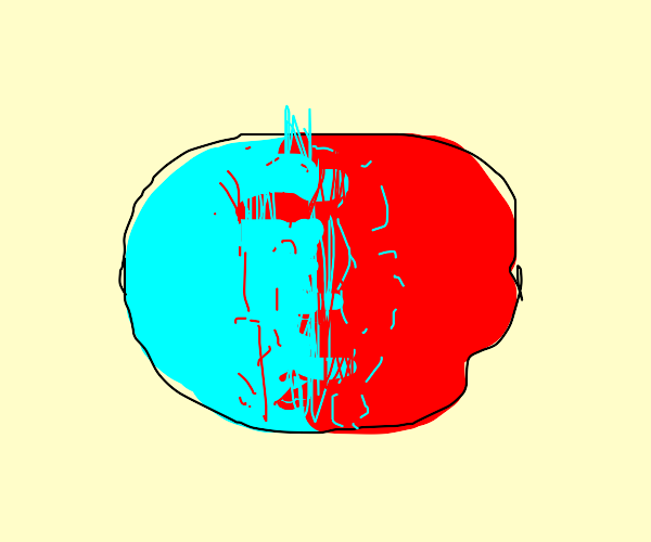 Cyan and Red merge together