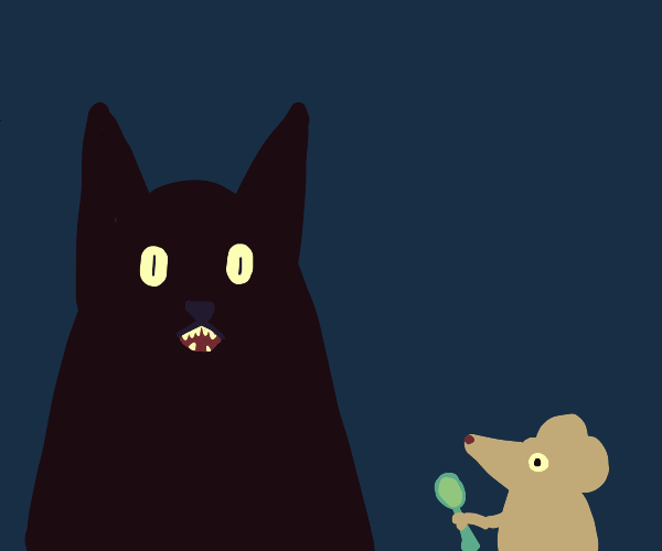 Phantom cat scaring a mouse holding a spoon