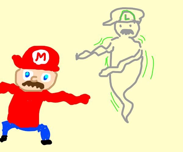 Luigi haunting Mario