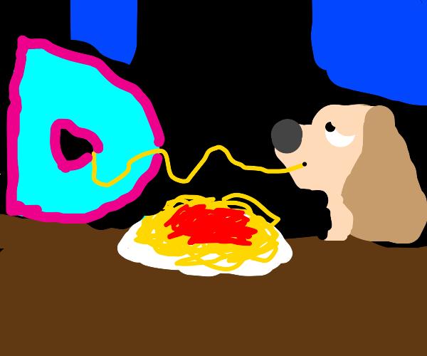 Drawception mascot eating pasta