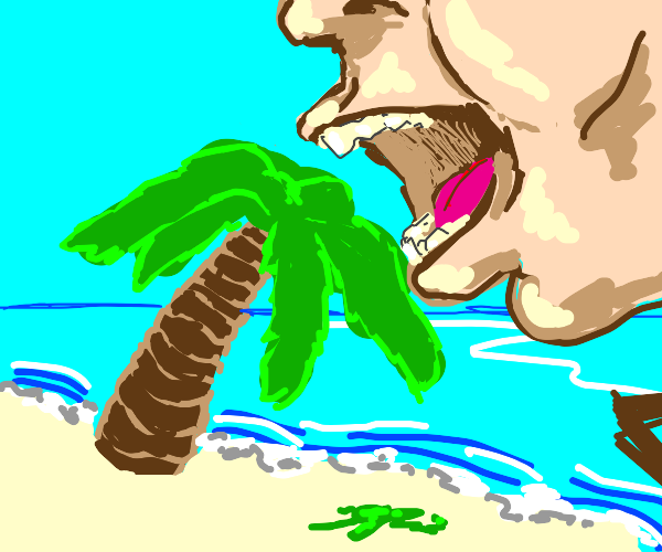 Eating a palm tree