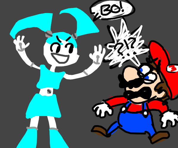 my life as a teenage robot thing scares mario