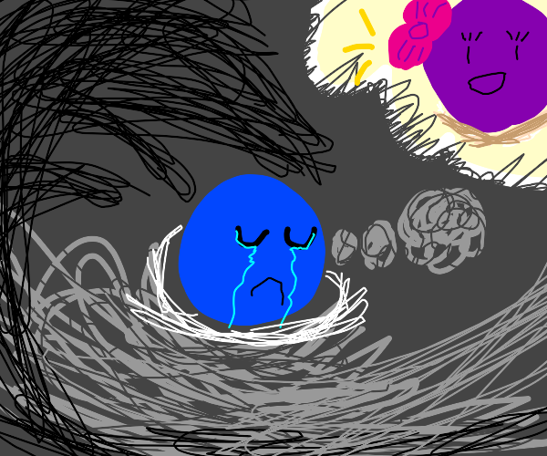 Blue thinks about purple sadly