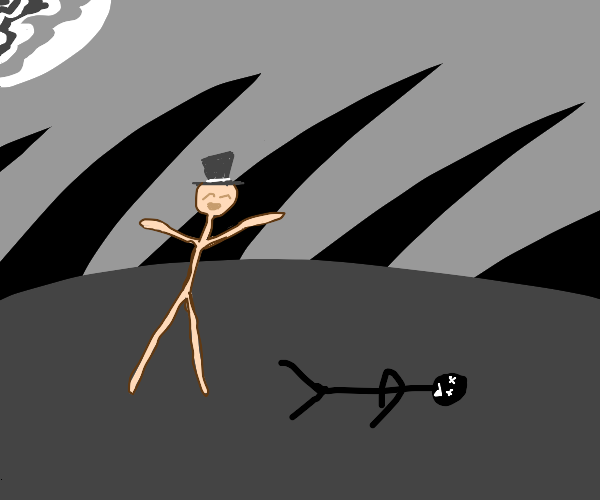 Naked Man Happy About Dead Stickman
