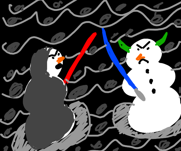 two snowmen fighting with lighsabers in space