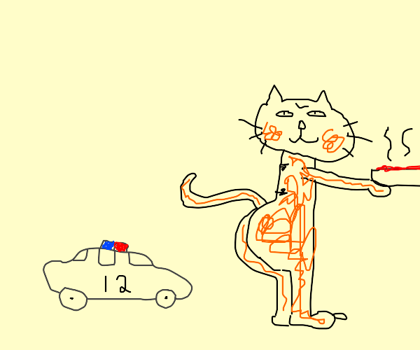 Garfield running from the police
