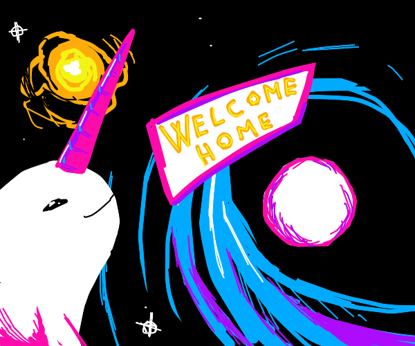 Space narval returnint to its home planet