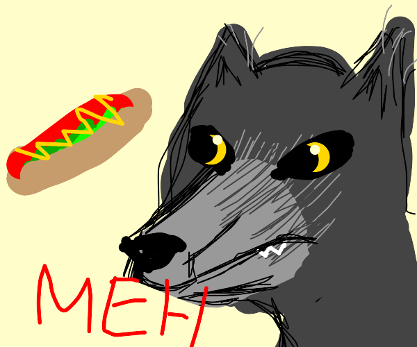 Wolf doesn't want a hot dog