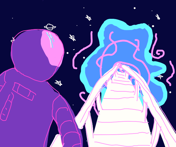 spaceman looks at bridge to another universe